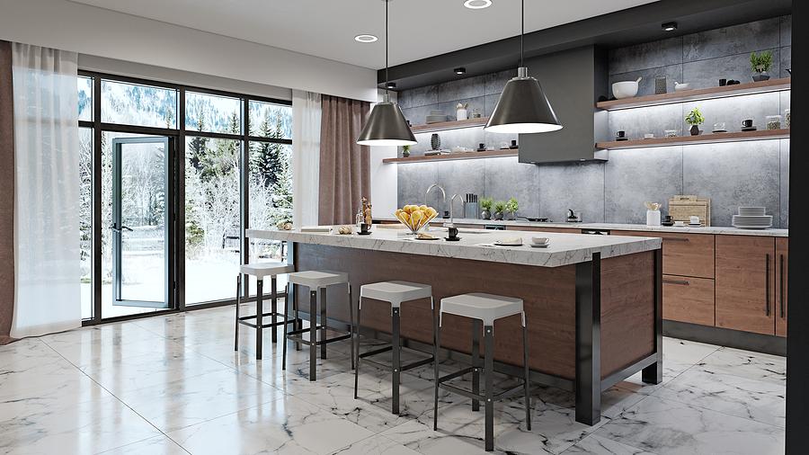 Newly renovated modern kitchen interior.